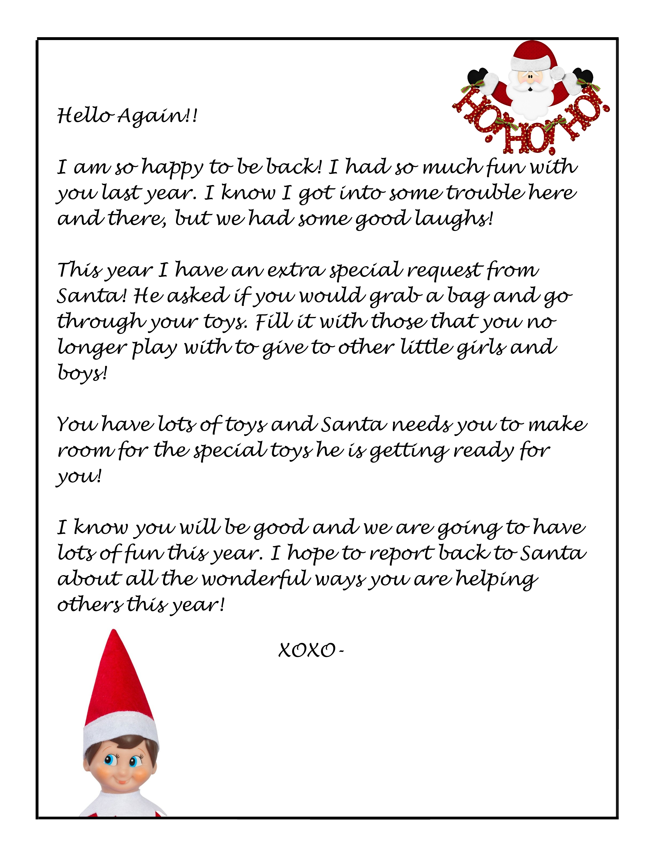 Elf On The Shelf Free Donation Letter Printable