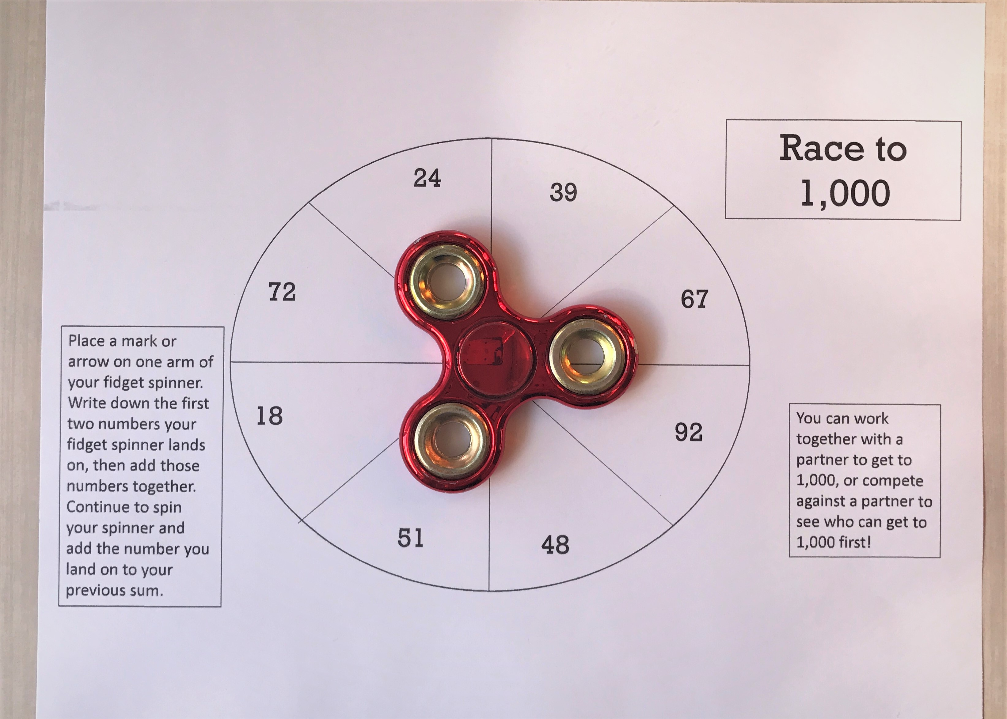 Fidget Spinner Math Game Printable Worksheet