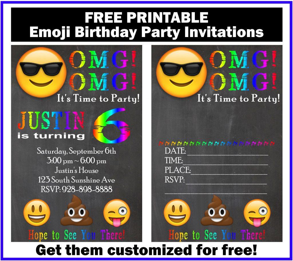 free customized emoji invitations and