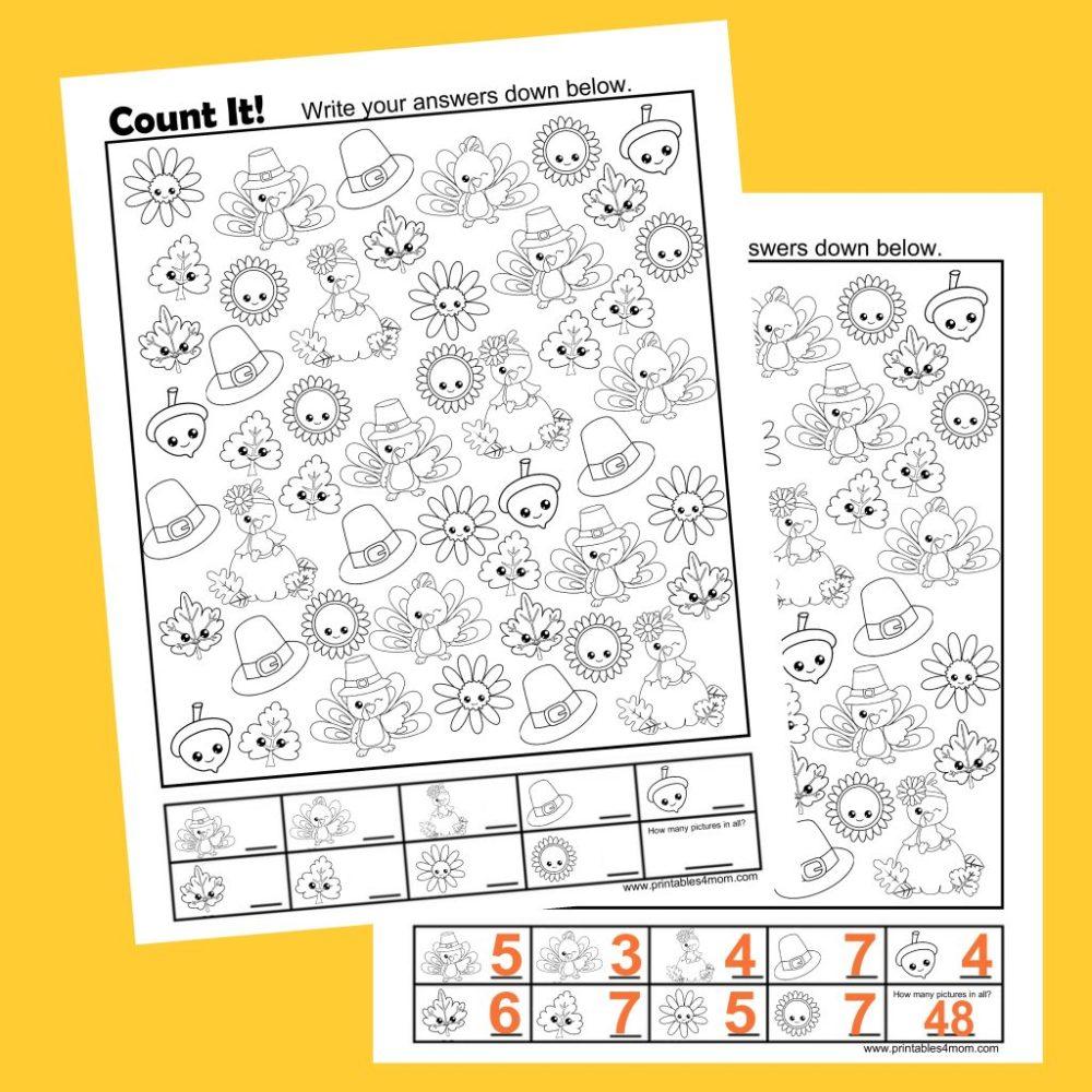 medium resolution of Free Thanksgiving Count It Printable - Printables 4 Mom