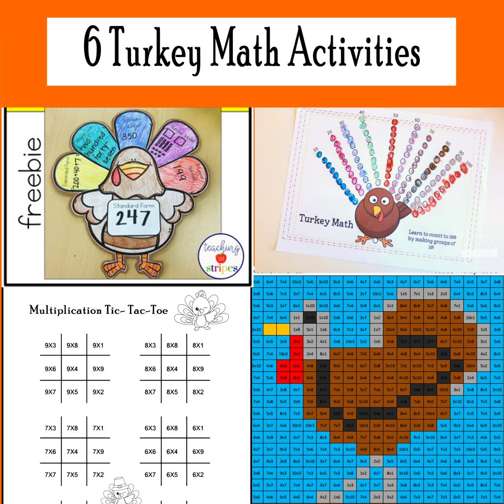 November Math Printables For Thanksgiving