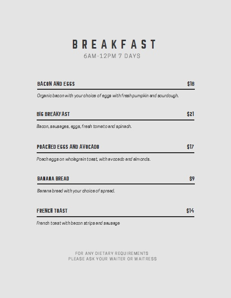 Free Sample Breakfast Menu Templates  Printable Samples