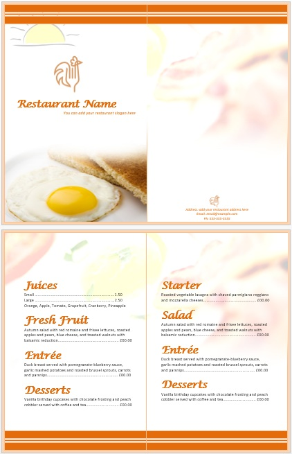 11 Free Sample Breakfast Menu Templates Printable Samples