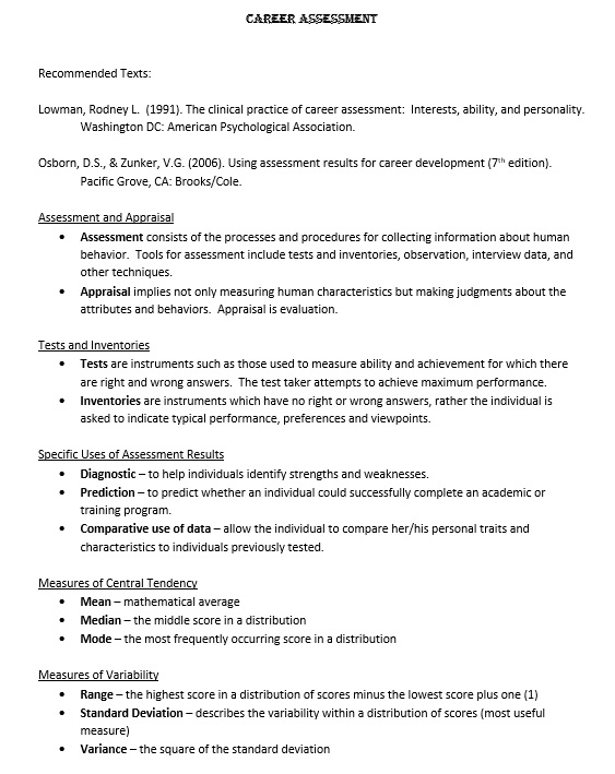 Sample Career Assessment  Resume Template Sample