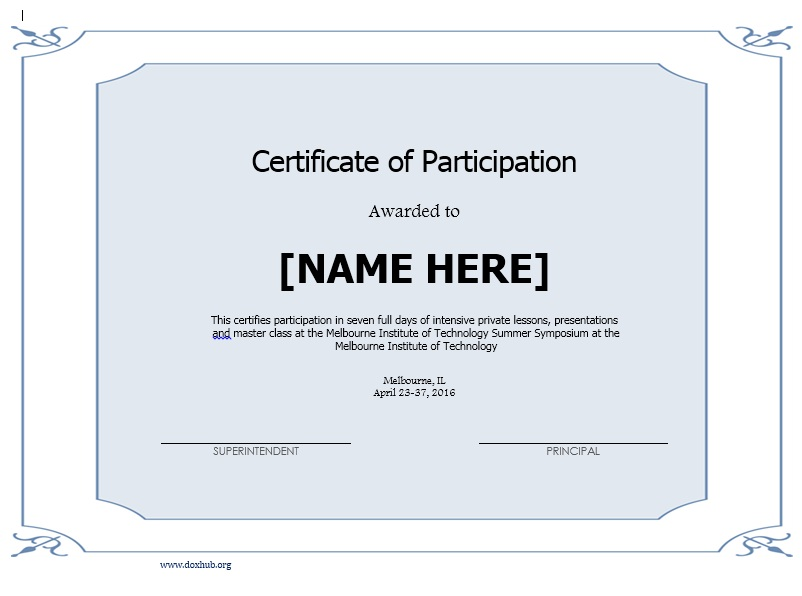 Lovely Here Is Preview Of Another Sample Participation Certificate Template  Created Using MS Word, Design Inspirations