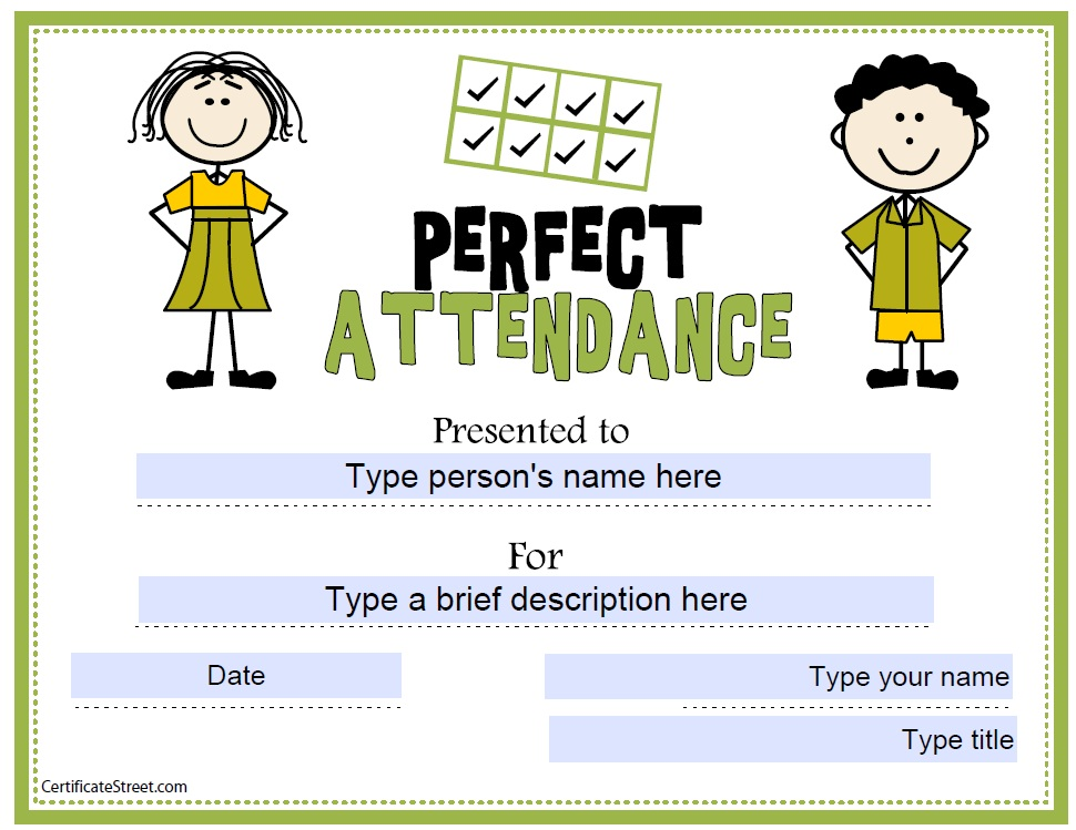 free perfect attendance certificate