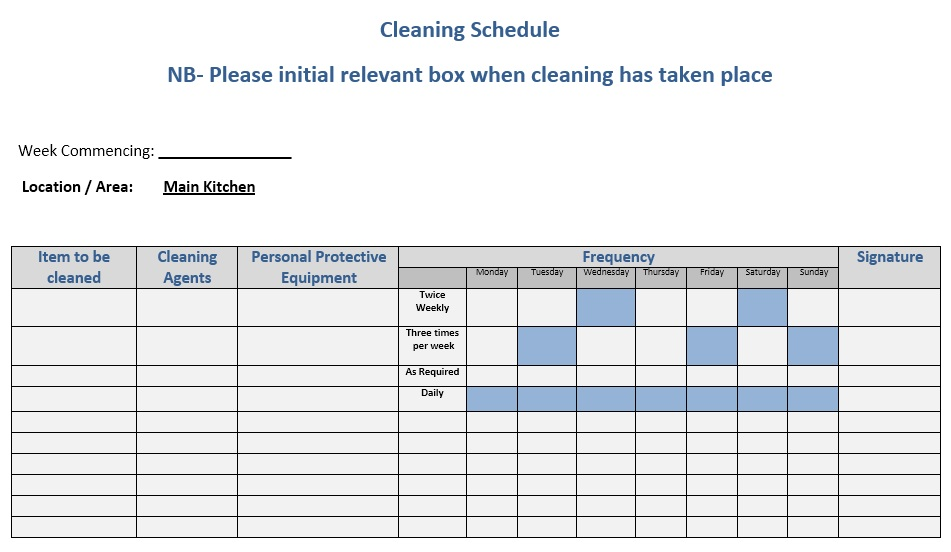 daily chore template