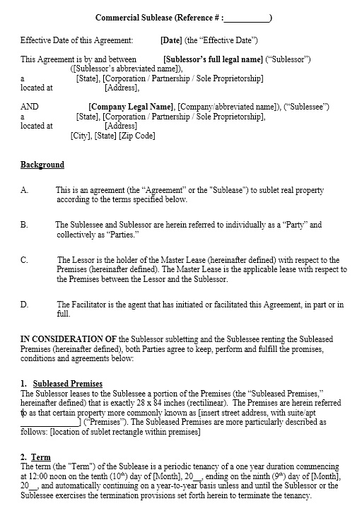 13 Free Sample Office Sublease Agreement Templates Printable Samples – Sublet Agreement Template