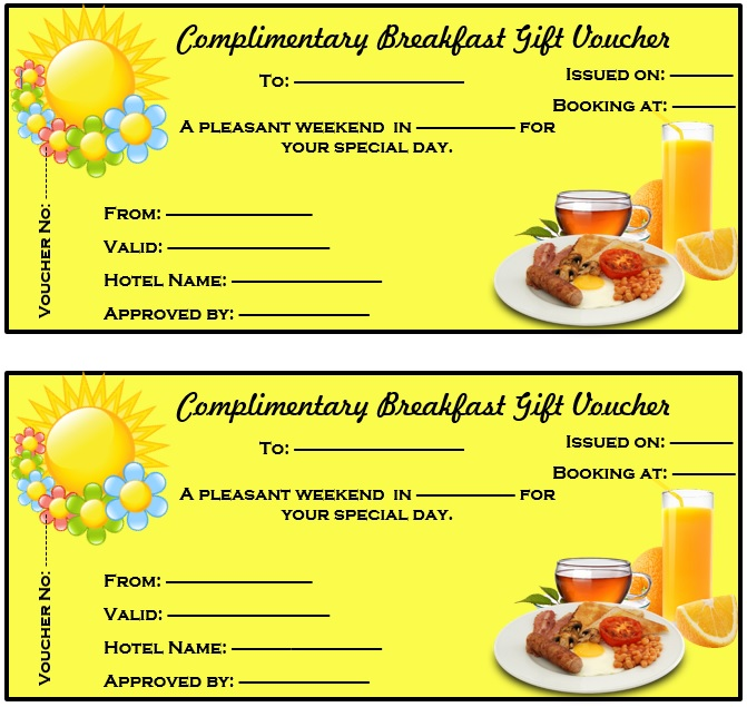 Free Sample Breakfast Voucher Templates  Printable Samples