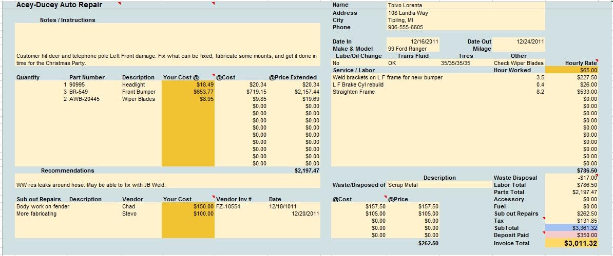 Printable auto body repair estimate. 13 Free Sample Auto Repair Estimate Templates Printable Samples