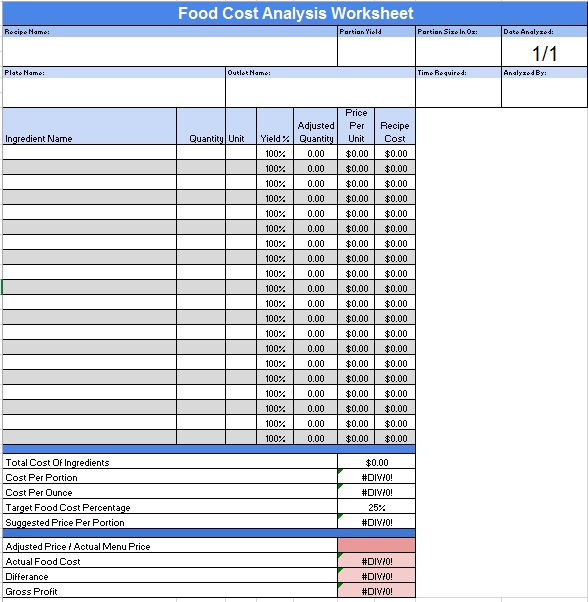 Free Sample Food Price List Templates  Printable Samples
