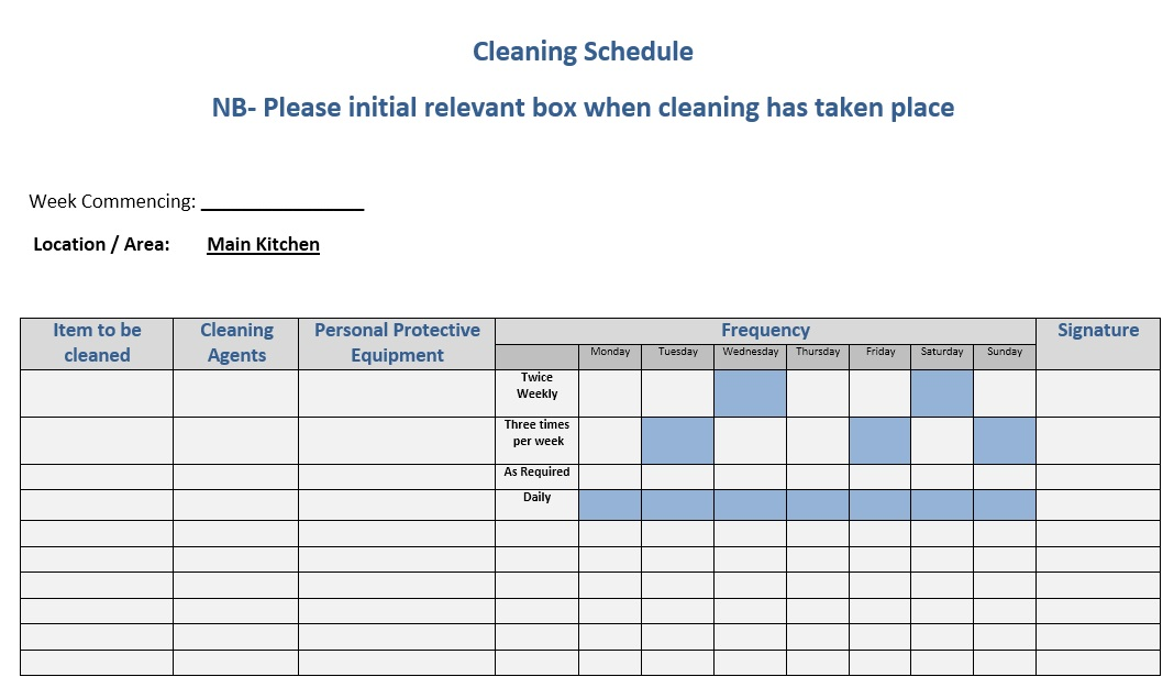 daily chore list template