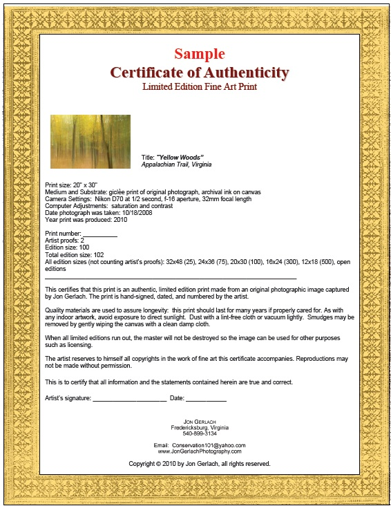 7 free sample authenticity certificate templates for Certificate of authenticity autograph template
