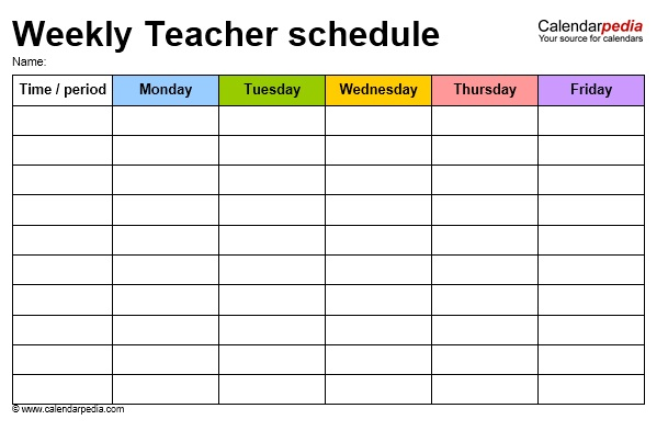 12 free sample teacher schedule templates printable samples for Timetable templates for teachers