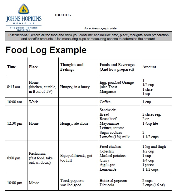 sample food diary template
