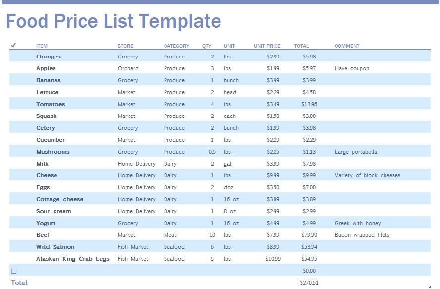 9 Free Sample Food Price List Templates Printable Samples