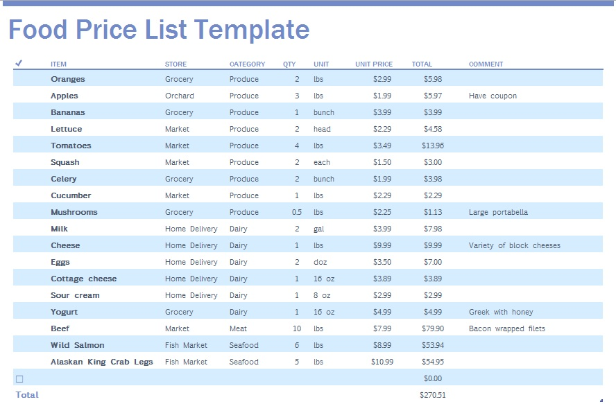 9 Free Sample Food Price List Templates