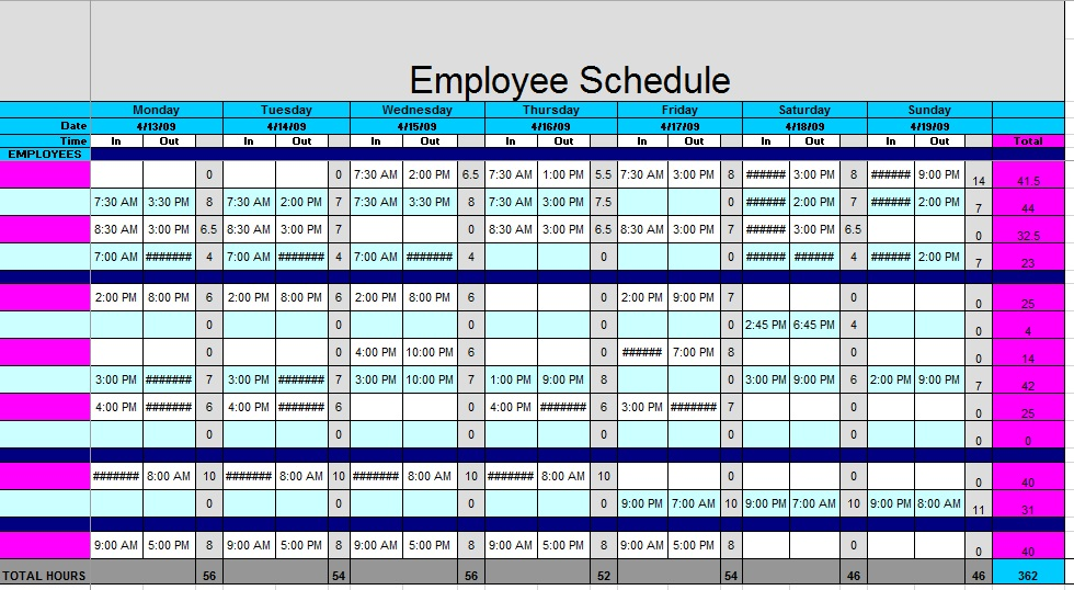 Free Sample Staff Schedule Templates  Printable Samples