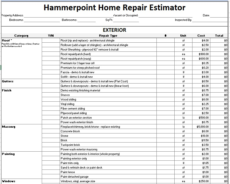 12 free sample home repair estimate templates printable for Estimate home building cost