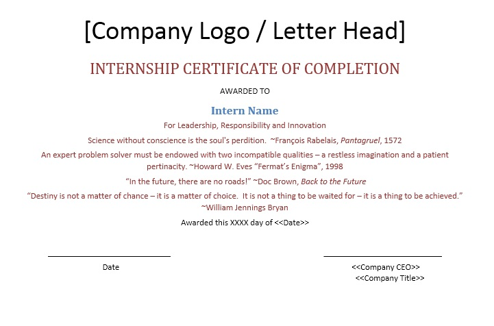 Free Sample Internship Certificate Templates  Printable Samples
