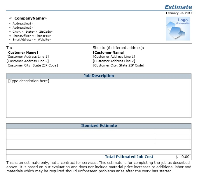 Here Is Preview Of Another Sample Job Estimate Form Created Using MS Word,  Customer Form Sample