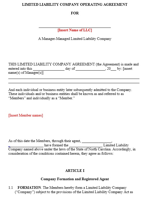 Free Sample Operating Agreement Templates  Printable Samples