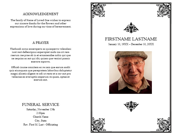 Free Sample Funeral Brochure Templates  Printable Samples