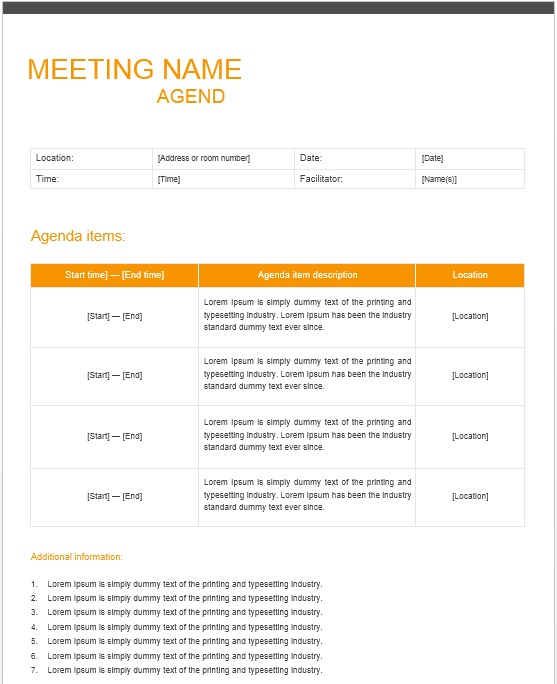 Design your agenda with adobe spark. 13 Free Sample Office Meeting Agenda Templates Printable Samples