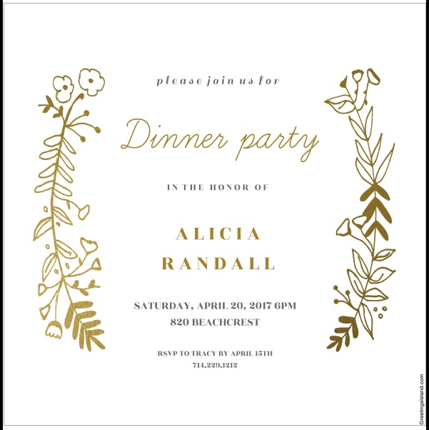 Free Sample Dinner Invitation Card Templates  Printable Samples