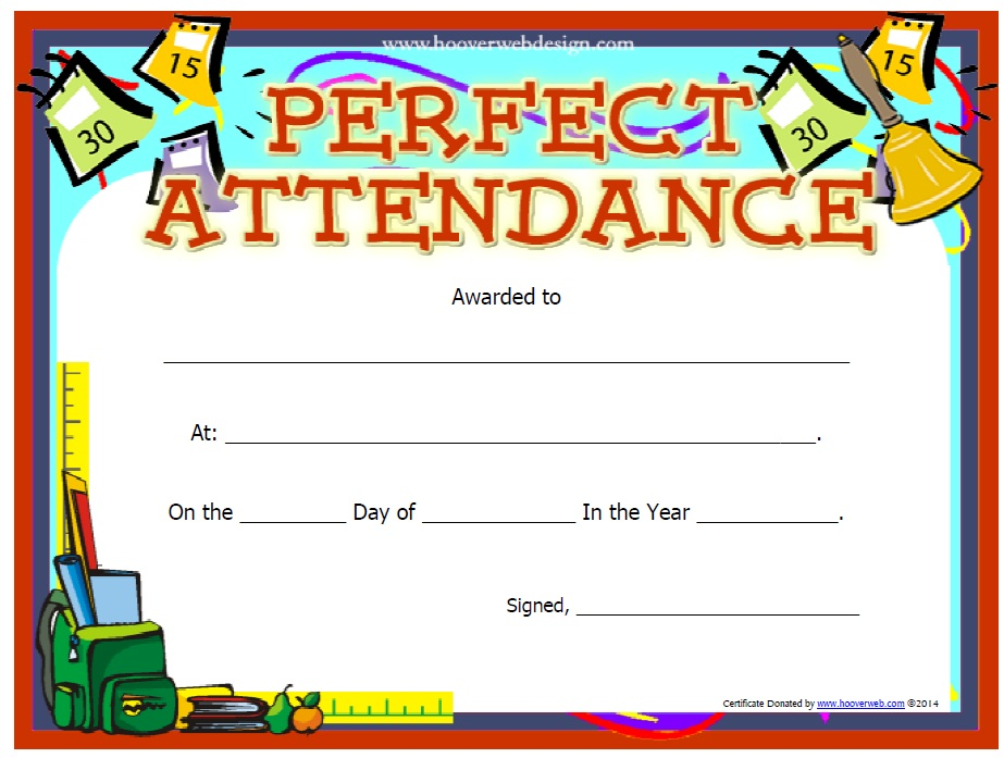 Here Is Preview Of Perfect Attendance Certificate Template.  Attendance Certificates Printable