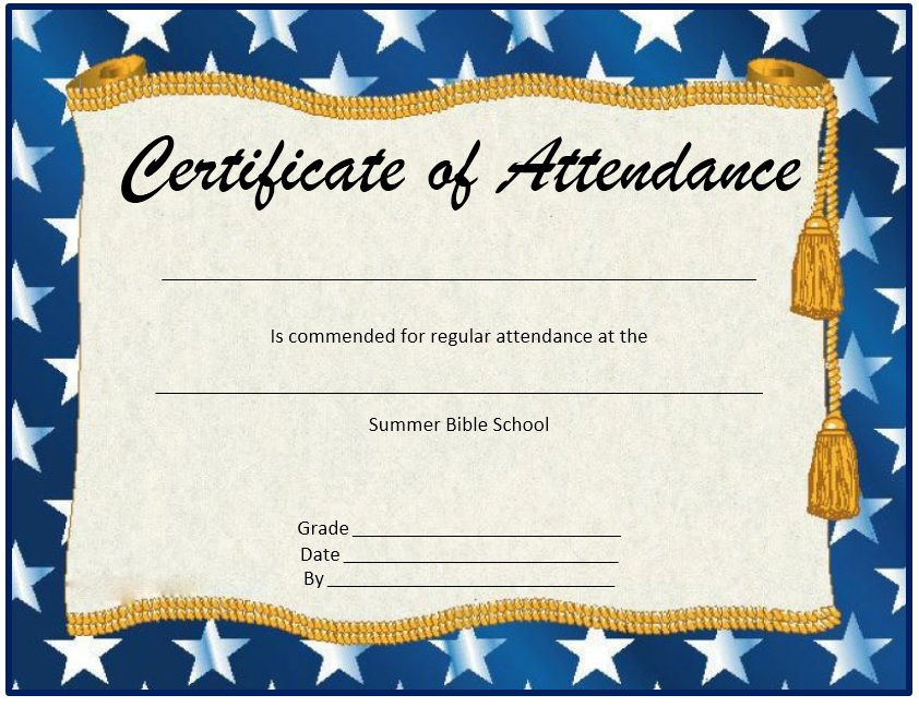 Another Free Printable Perfect Attendance Certificate, Throughout Attendance Certificates Printable