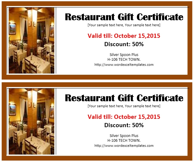 here is preview of another sample restaurant voucher template created using ms word