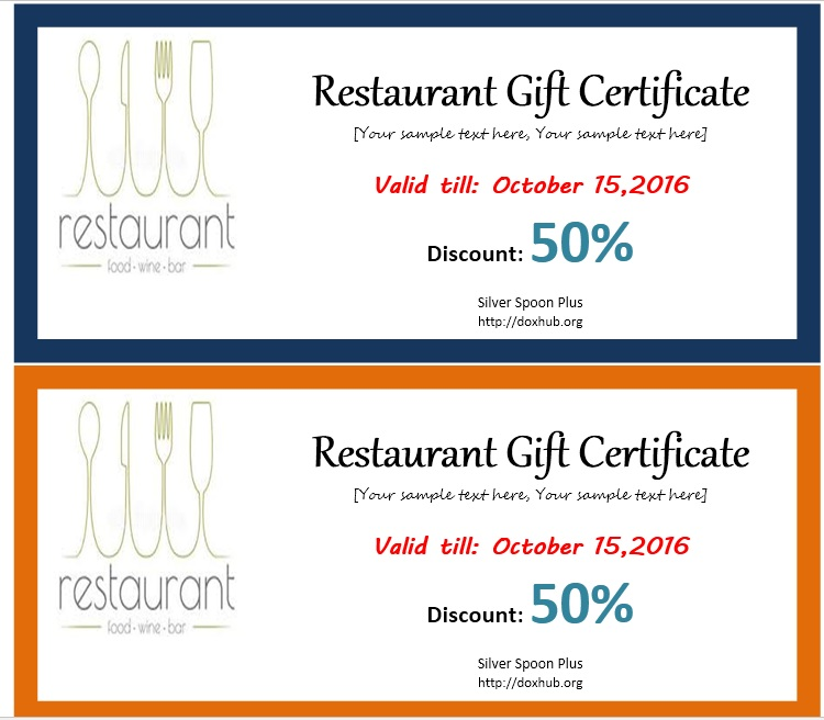 restaurant gift certificate template free