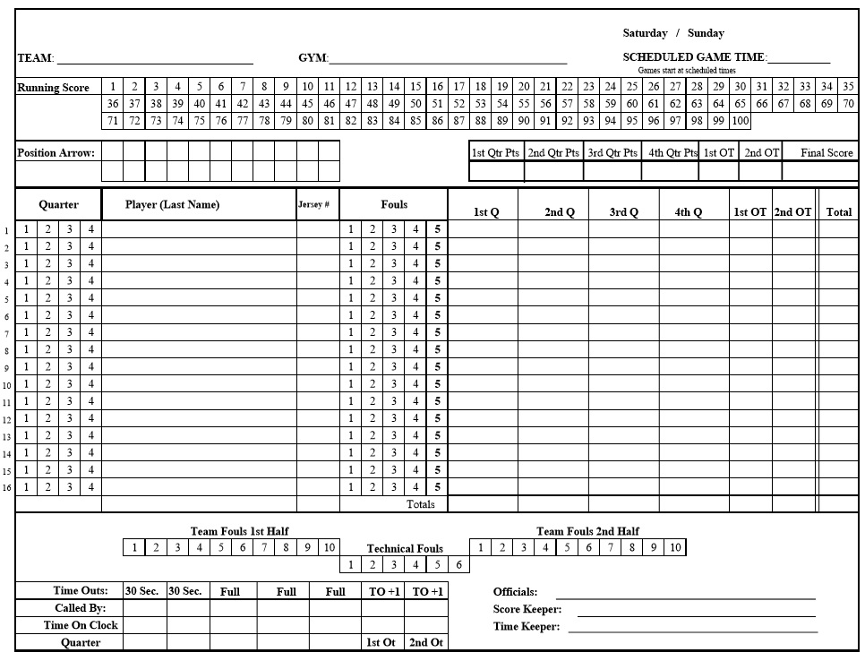 Free Sample Bridgett Score Sheet Templates  Printable