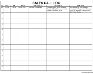 sample call log template