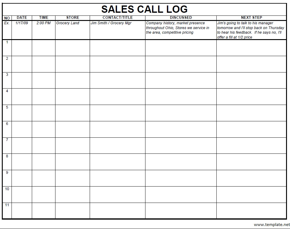 Checkout Preview Of Another Sample Sales Log Template In PDF Format,