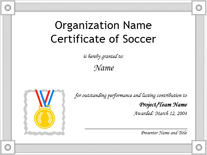 soccer certificate word template