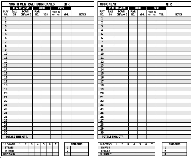 Free Sample Football Score Sheet Templates  Printable Samples
