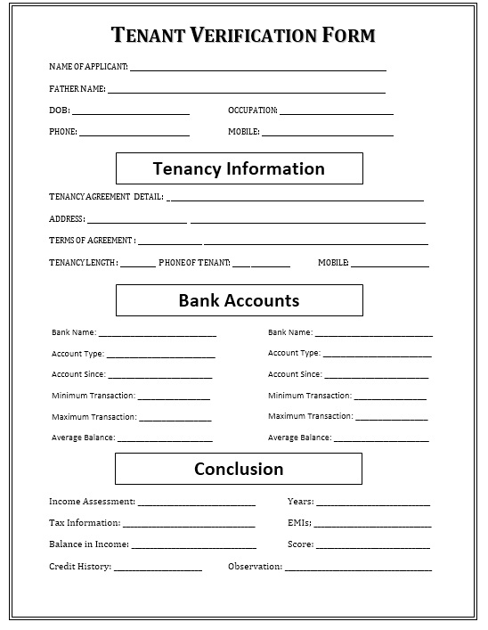 12 Free Sample Tenant Verification Form – Printable Samples