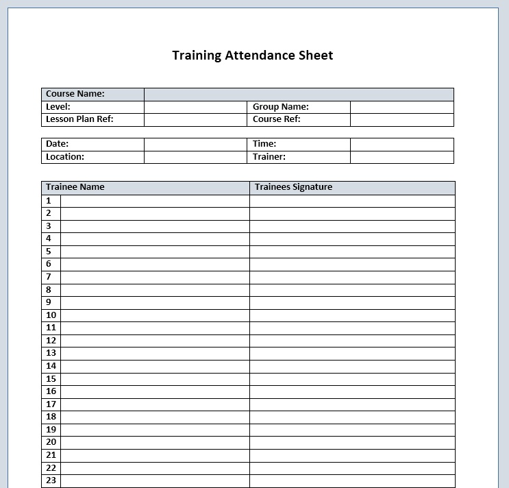 Here Is Preview Of Another Sample Training Attendance Sheet Template  Created Using MS Word,