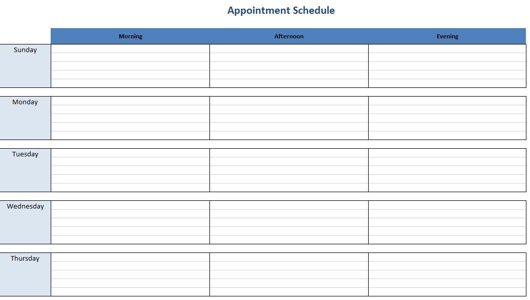 Free Sample Appointment Schedule Templates  Printable Samples