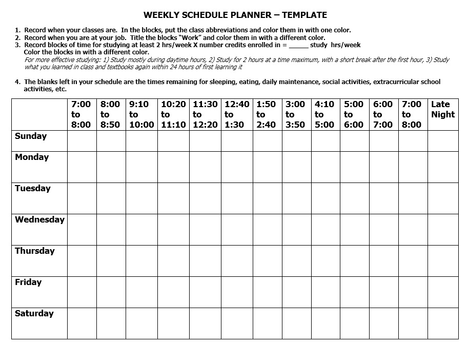 Free Sample Class Schedule Templates  Printable Samples