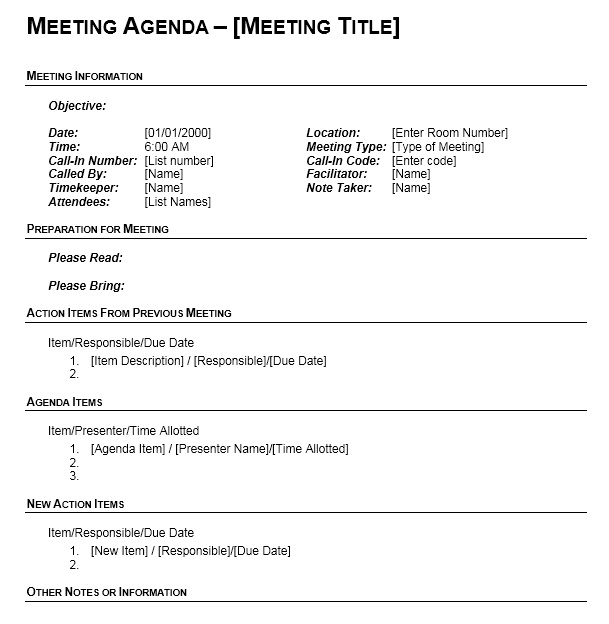 13 free sample office meeting agenda templates