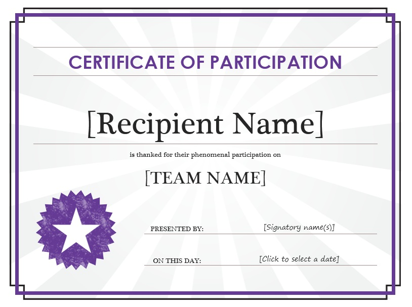 Marvelous Beau Here Is Preview Of Another Sample Participation Certificate Template  Created Using MS Word,