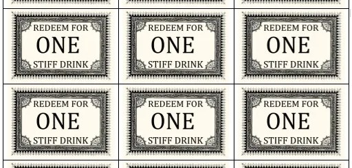 Printable drinks vouchers archives printable samples for Complimentary drink ticket template