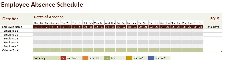 vacation calendar template excel