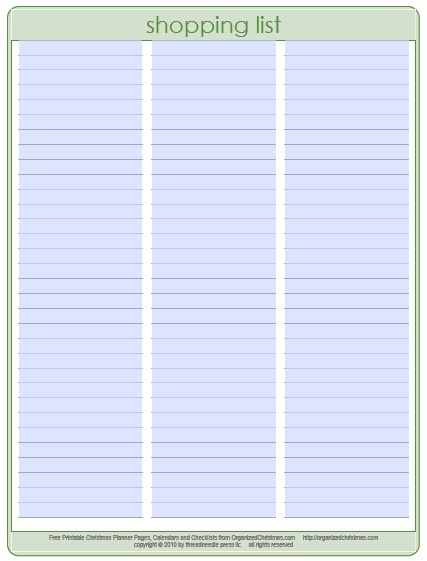 13 Free Sample Food Shopping List Templates - Printable Samples