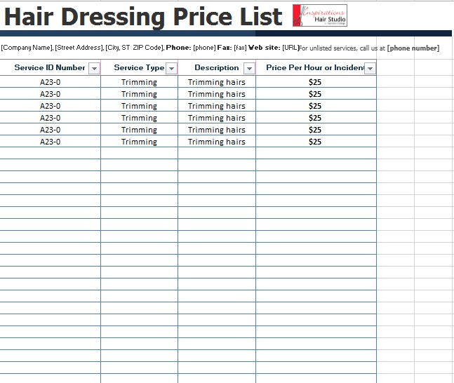 10 Free Sample Spa Price List Templates – Printable Samples