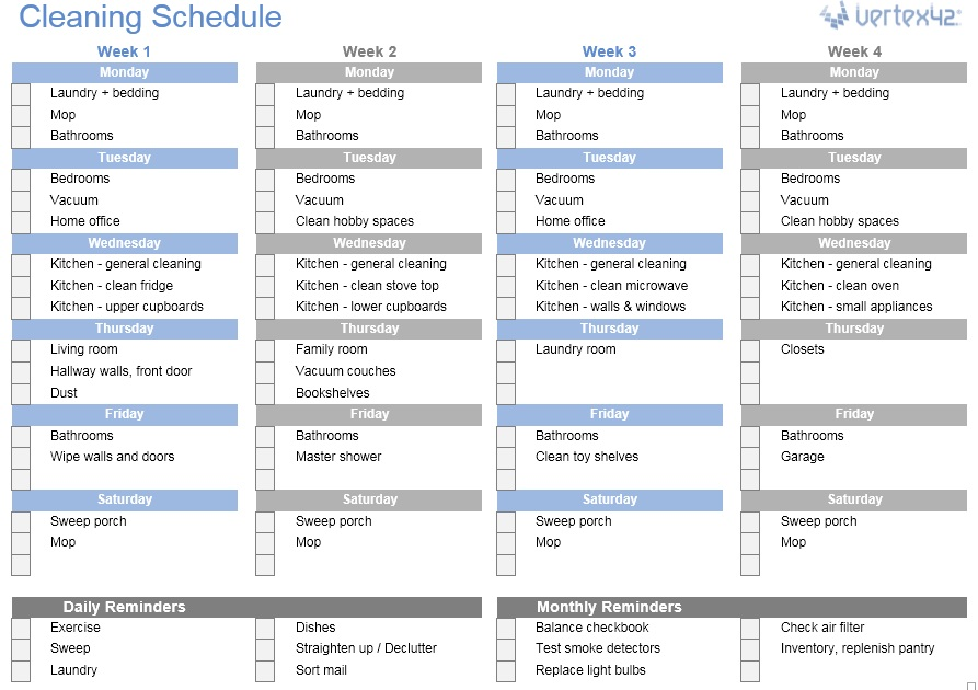 domestic cleaning schedule template - 12 free sample household chores list templates printable