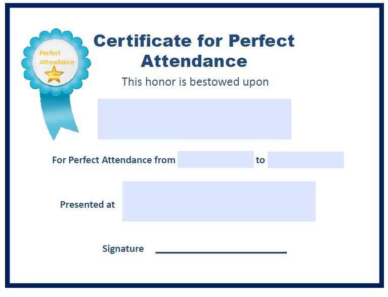 13 free sample perfect attendance certificate templates printable here is another sample perfect attendance certificate template yelopaper Image collections